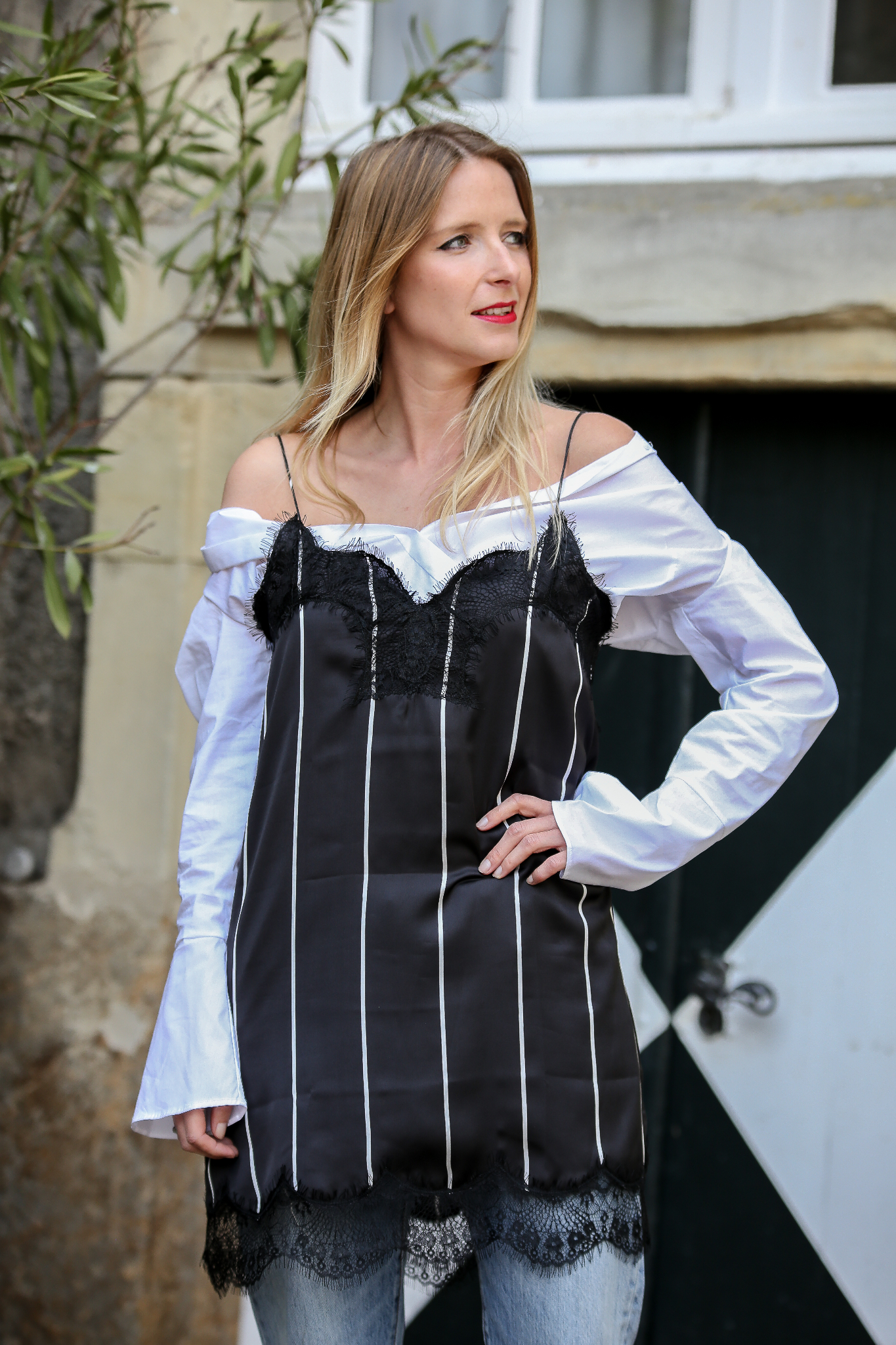 Fashion_Outfit_Off_Shoulder_Striped_Slipdress_MOD - by Monique-7