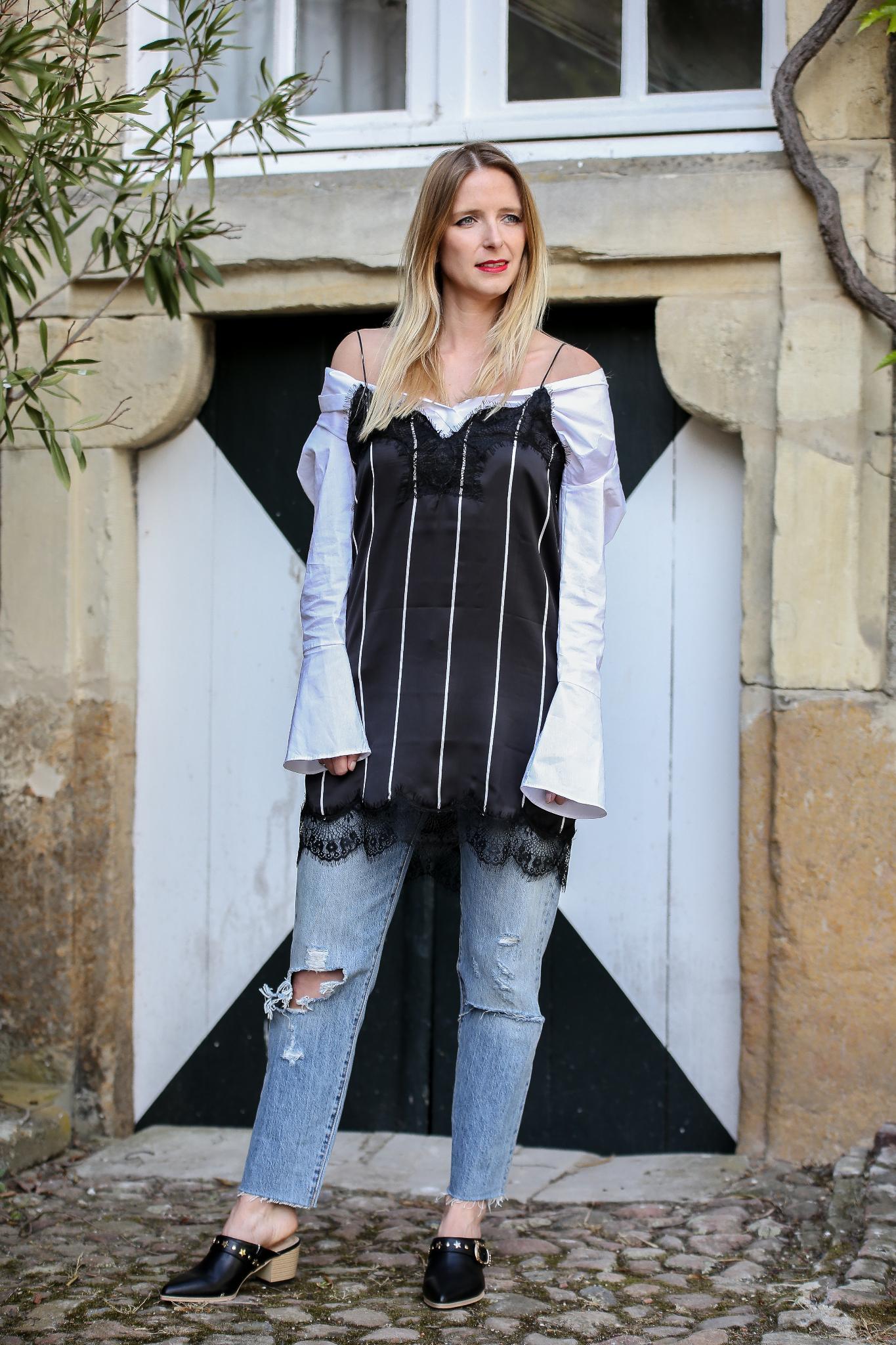 Fashion_Outfit_Off_Shoulder_Striped_Slipdress_MOD - by Monique
