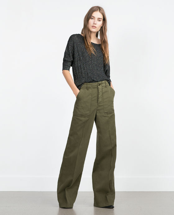 Snap of the day: Khaki Wide Leg Pants