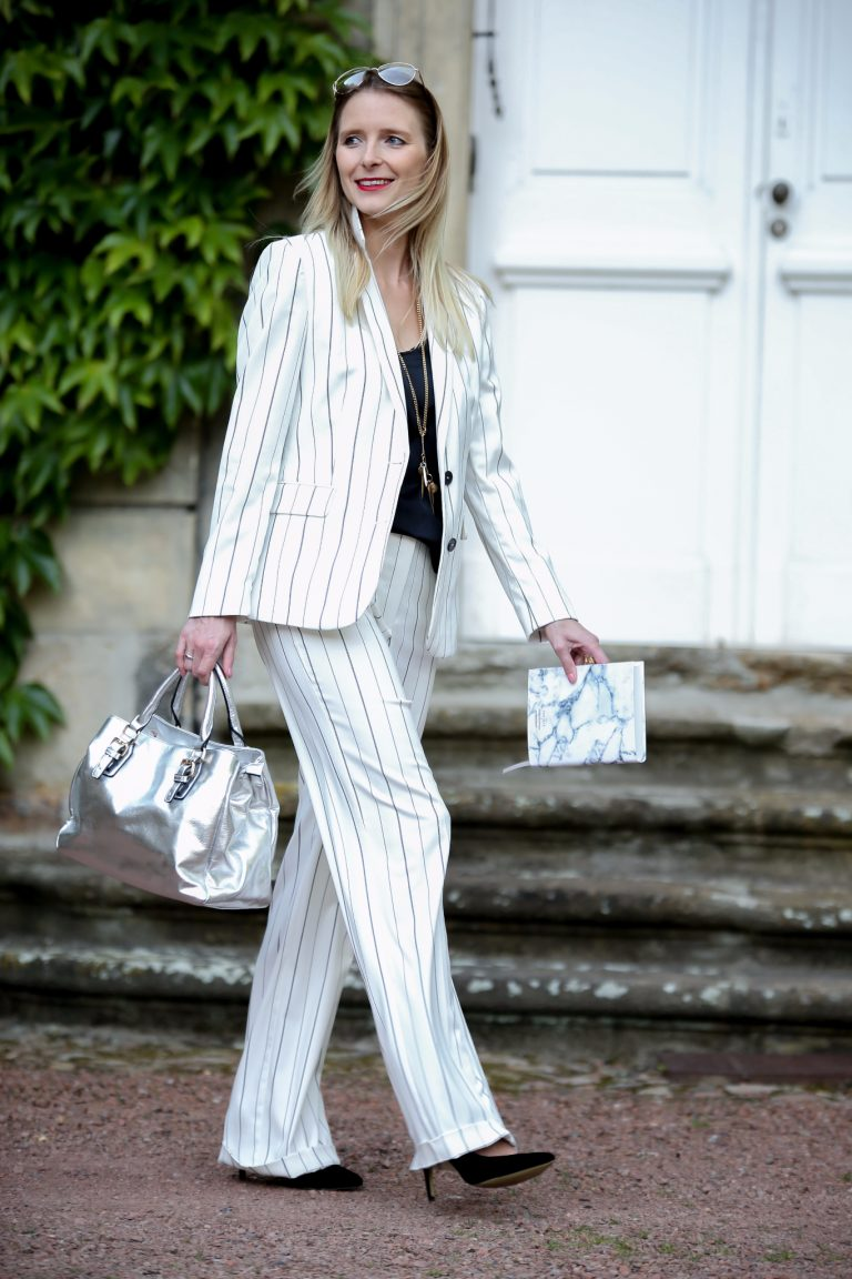 Girl Boss│White Pinstriped Suit
